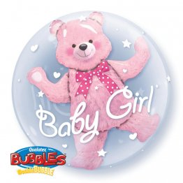 Balon double bubble baby girl pink bear 61 cm