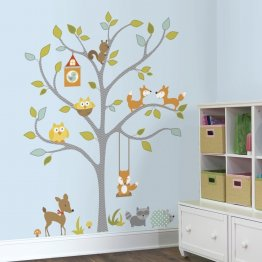 Stickere gigant WOODLAND FOX & FRIENDS TREE