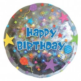 Balon folie 45 cm happy birthday confetti
