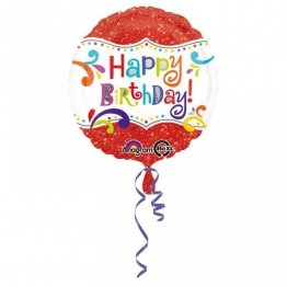 Balon folie 45 cm happy birthday rosu sparkle