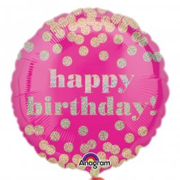 Balon folie 45 cm happy birthday holografic dotty