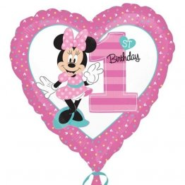 Balon folie 45 cm inima minnie 1st birthday