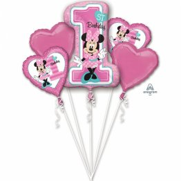 Buchet baloane minnie mouse 1st birthday set 5 bucati