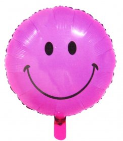 Balon folie 45 cm smiley roz