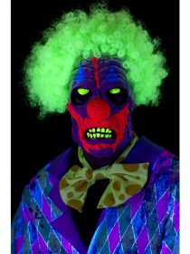 Masca latex clown UV cu par cret afro
