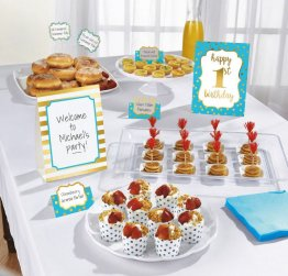 Kit decor masa - bufet petrecere 1st Birthday blue