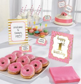 Kit decor masa - bufet petrecere 1st Birthday pink