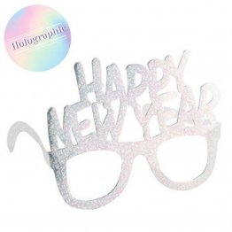 Set 6 ochelari carton argintii holografici Happy New Year