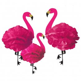 Set 3 pampoane decorative din hartie roz Flamingo Party