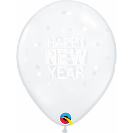 Baloane Latex 11''/28 cm - Happy New Year, Qualatex 97325, set 25 buc