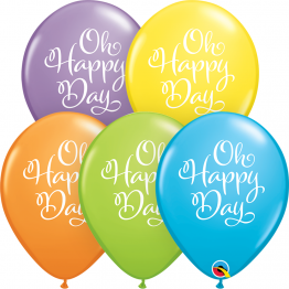Baloane latex 28 cm inscriptionate Oh Happy Day Pastel, Qualatex 90961, set 25 buc