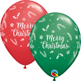 Baloane Latex 11''/28 cm - Merry Christmas, Qualatex 97348, set 25 buc