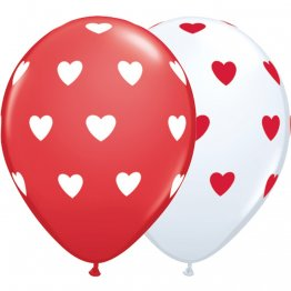 Set 10 baloane latex 28 cm inscriptionate Big Hearts Asortate White & Red