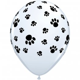 Set 25 baloane latex 28 cm inscriptionate Paw Prints-A-Round White