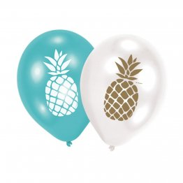 "Baloane latex 11""/28 cm inscriptionate cu ananas - Amscan 9903315, set 6 buc"
