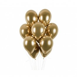 Set 50 Baloane aurii latex metalic Gold Shiny