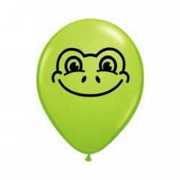 Set 100 baloane latex 13 cm inscriptionate Frog Face, Lime Green
