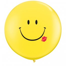 Set 2 baloane latex Jumbo 91 cm ciptionate A Smile & A Kiss Yellow