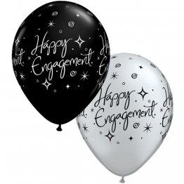 Set 25 baloane latex 28 cm Asortate Happy Engagement - black & silver