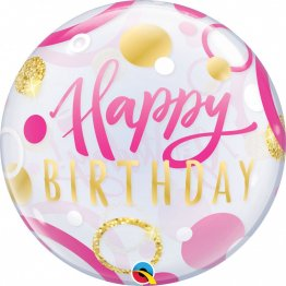 Balon Bubble 22 Happy Birthday Buline Roz Si Aurii, 87745