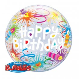Balon Bubble 22/56 cm, Happy Birthday Lid Candles, 16658