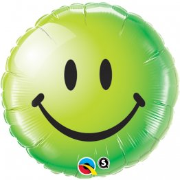 Balon folie 45 cm Green Smiley Face