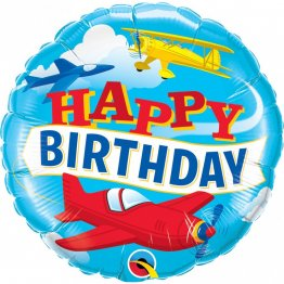 Balon Folie 45 cm Happy Birthday Avion - 57796