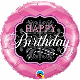 Balon Folie 45 cm Happy Birthday Pink si Black, 16702