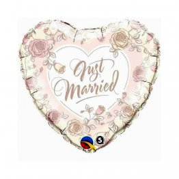Balon folie 45 cm Just Married Roses