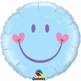 Balon folie 45 cm Smiley Face Pale Blue