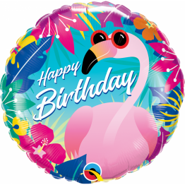 Balon Folie 45 cm Tropical Flamingo - Happy Birthday, 10220