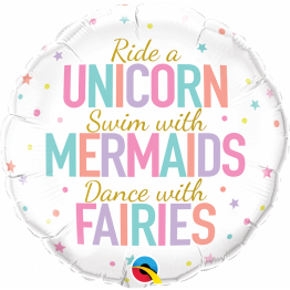 Balon Folie Unicorn, Mermaids, Fairies