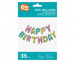 Pachet baloane folie Happy Birthday multicolor - 35 cm
