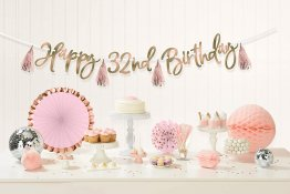 Banner decorativ cu personalizare cifre Happy Birthday rose gold