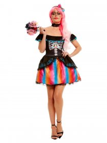 Costum seniorita Day of the Dead Rainbow