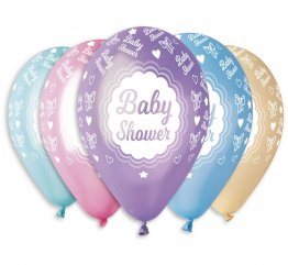 Set 5 baloane pastel metalic Baby shower 30 cm