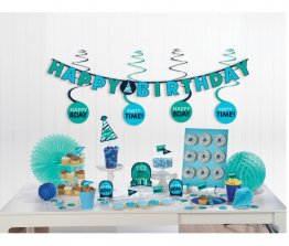 Kit decoratiuni Happy Birthday Blue party 17 piese si confetti