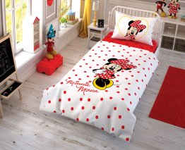 Lenjerie de pat copii TAC Minnie Mouse Y love you