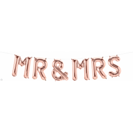 Pachet baloane folie Mr. & Mrs. rose gold - 41 cm