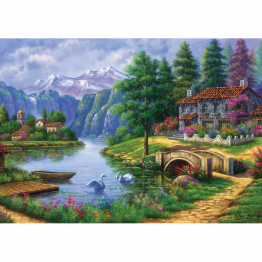 Puzzle 1500 piese - Village By Lake