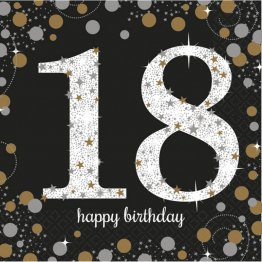 Set 16 servetele petrecere majorat 18 Happy Birthday GoldSet 16 servetele petrecere majorat 18 Happy Birthday