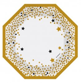 set-6-farfurii-party-gold-confetti-18-cm
