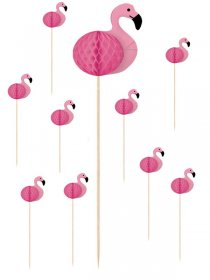 Set 10 scobitori decorative flamingo 19 cm