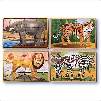 Set 4 puzzle lemn Animale