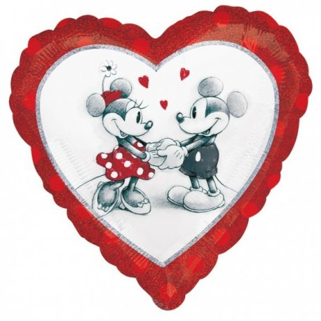 Balon folie 45 cm holografic mickey si minnie love