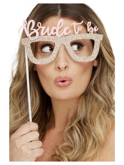 Set 4 accesorii recuzita glitter Bride to be Gold