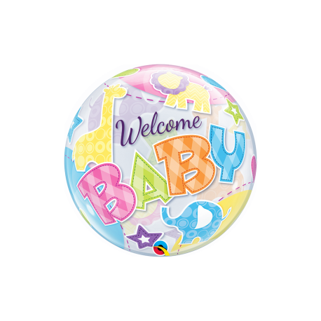 Balon bubble welcome baby pastel 56 cm