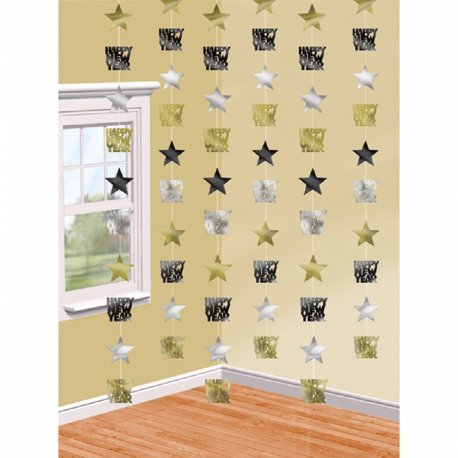 Decor tip perdea Happy New Year - 213 cm , 6 piese