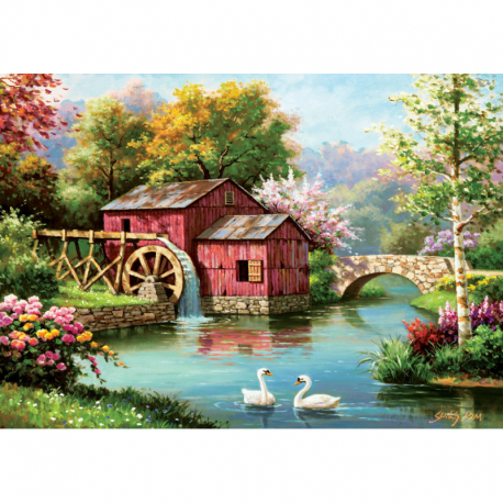 Puzzle 1000 piese - The Old Red Mill