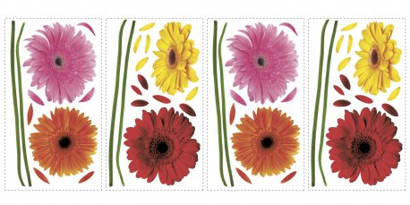 Sticker decorativ SMALL GERBER DAISIES | 4 colite de 25,4 cm x 45,7 cm